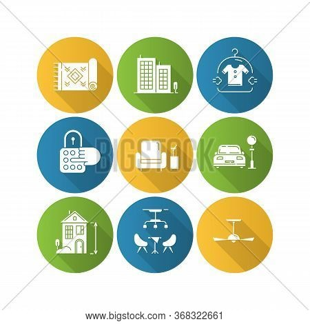 Apartment Amenities Flat Design Long Shadow Glyph Icons Set. Office Building, High Ceiling House, As