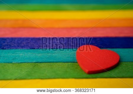 Red Heart On Rainbow Color Wooden, Lgbt Pride Month Celebrate Annual In June Social Is A Symbol Of L