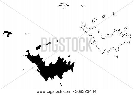Saint Barthelemy Island (france, French Republic, Overseas Collectivity) Map Vector Illustration, Sc