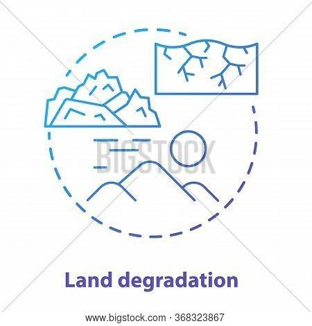 Land Degradation Concept Icon. Soil Impoverishment Idea Thin Line Illustration In Blue. Soil Erosion