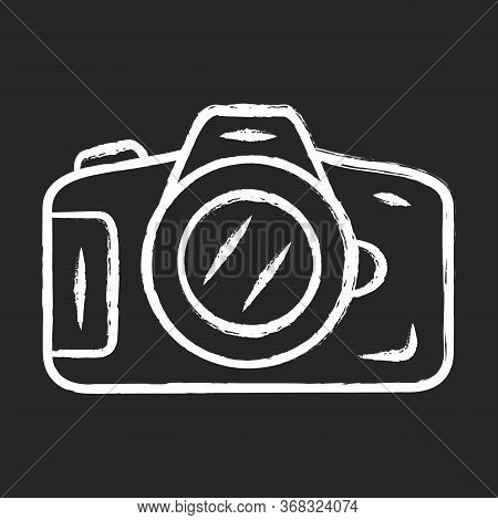Photo Camera Chalk Icon. Professional Photocamera. Making Snapshots, Taking Pictures Device. Photogr