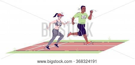 Man And Woman Running On Marathon Track Flat Vector Illustration. Competitors. Athletic Boy And Girl