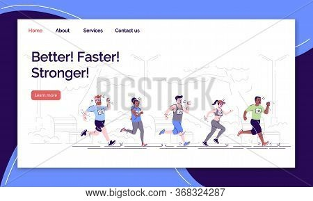 Better, Faster, Stronger Landing Page Vector Template. Marathon Website Interface Idea With Flat Ill