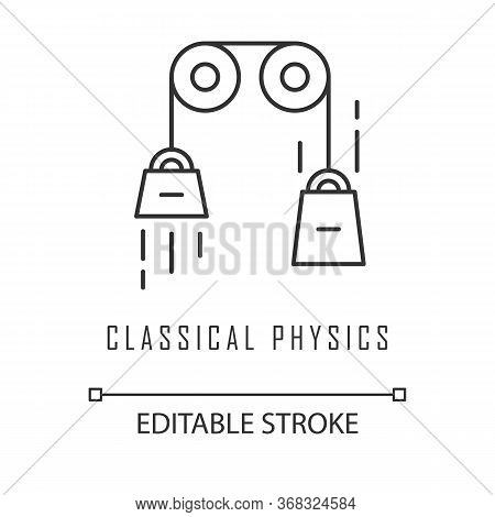Classical Physics Linear Icon. Laws Of Motion And Gravitation. Theoretical Kinematics Physical Exper