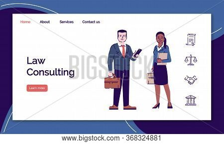 Law Consulting Landing Page Vector Template. Legal Adviser Website Interface With Flat Characters. A