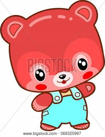 Cute Kawaii Bear Cub In Blue Pants, Isolated Object On White Background, Vector Illustration, Eps