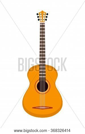 Acoustic Six-stringed Guitar. Musician Instrument Isolated On White Background. Jazz, Rock, Pop, Cla