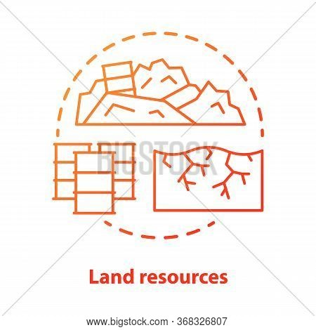 Land Resources Concept Icon. Natural Minerals Usage Idea Thin Line Illustration In Blue. Soil Pollut