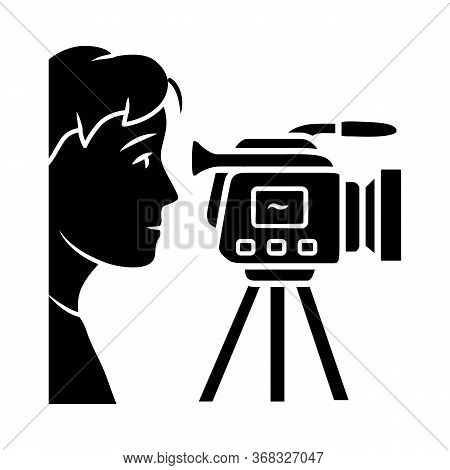 Cameraman Glyph Icon. Videorecording, Filming. Videographer, Operator With Camera. Video Journalist,