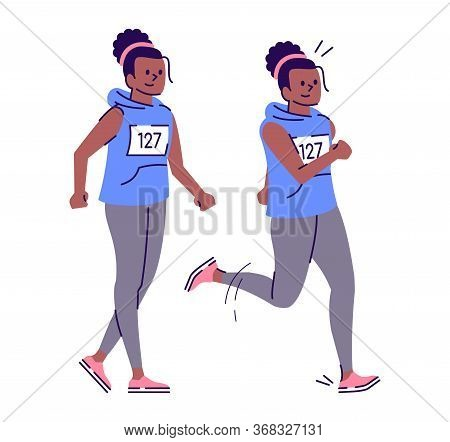 Attractive Trained African American Woman Flat Vector Illustration. Standing, Running Girl. Female M