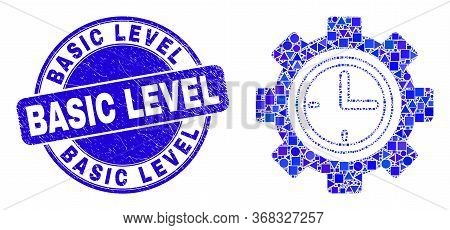 Geometric Clock Setup Wheel Mosaic Icon And Basic Level Seal Stamp. Blue Vector Rounded Grunge Stamp