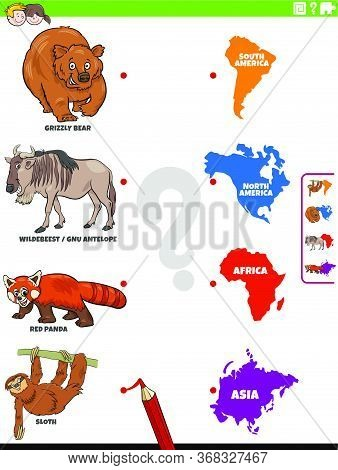 Cartoon Illustration Of Educational Matching Task For Children With Animal Species Characters And Co