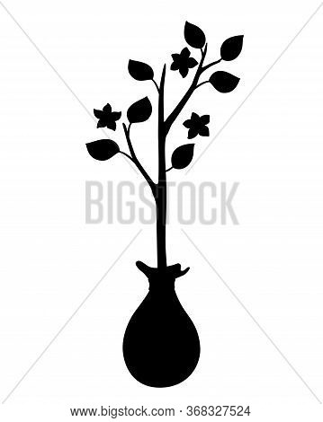 Sapling Silhouette. Tree Sapling - Vector Black Silhouette For Logo Or Pictogram. A Sign Or Icon Is