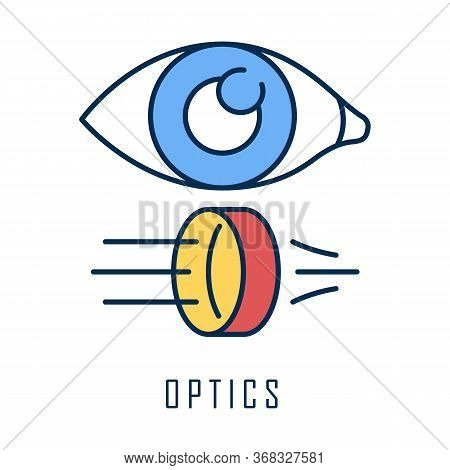 Optics Color Icon. Light Physics Branch. Optometry And Ophthalmology Scientific Research. Light Rays
