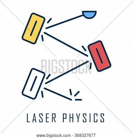 Laser Physics Color Icon. Optics Branch. Quantum Electronics, Laser Construction, Optical Cavity. Li