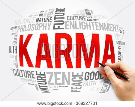 Karma Word Cloud Collage, Religion Concept Background