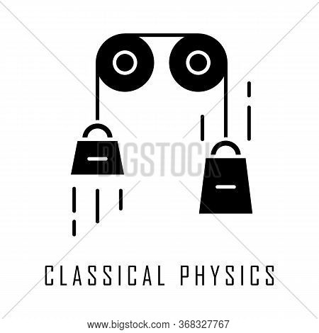 Classical Physics Glyph Icon. Laws Of Motion And Gravitation. Mechanical Energy Research. Theoretica
