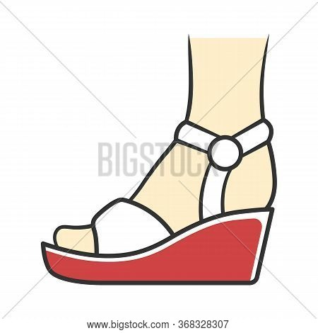 Wedges White Color Icon. Woman Stylish Footwear Design. Female Casual Shoes, Summer Sandals With Pla