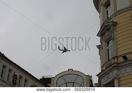Moscow, Russia - May 9, 2020:il-78 Air Tanker Flies Over Moscow During A Parade Dedicated To The 75t