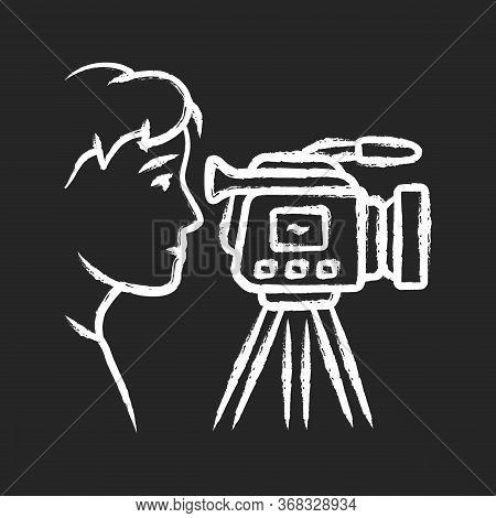 Cameraman Chalk Icon. Videorecording, Filming. Videographer, Operator With Camera. Video Journalist,