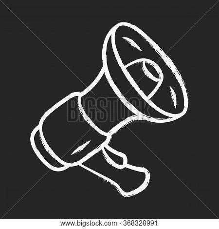 Mouthpiece Chalk Icon. Megaphone, Bullhorn. Breaking News, Announcement Symbol, Loudspeaker. Device