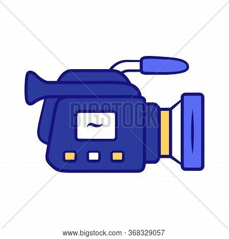 Camera Blue Color Icon. Camcorder. Videotaping, Video Recording. Filmmaking Professional Equipment.