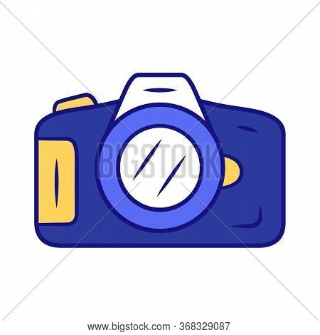 Photo Camera Blue Color Icon. Professional Photocamera. Making Snapshots, Taking Pictures Device. Ph