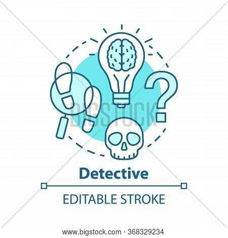 Detective Literature Concept Icon. Crime Fiction Idea Thin Line Illustration. Mystery Criminal Story