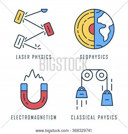 Physics Branches Color Icons Set. Laser And Classical Physics, Electromagnetism And Geophysics. Phys