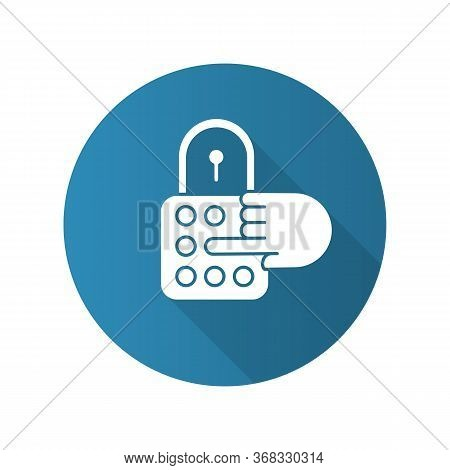 Combination Lock Blue Flat Design Long Shadow Glyph Icon. House Security. Password, Code, Safe Padlo