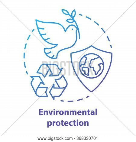 Environmental Protection Concept Icon. Nature Care Idea Thin Line Illustration In Blue. Earth Day. K