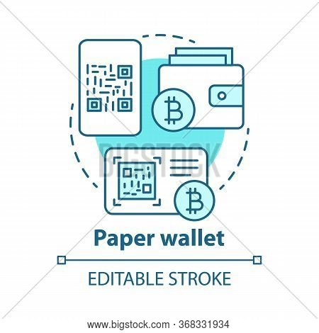 Paper Wallet Blue Concept Icon. Cryptocurrency Offline Storage Idea Thin Line Illustration. Copying