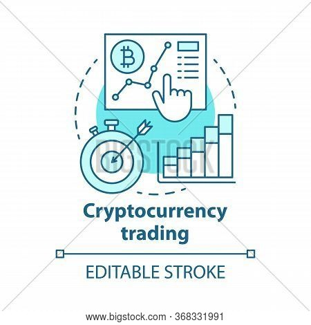 Cryptocurrency Trading Blue Concept Icon. Speculating On Price Movements Idea Thin Line Illustration