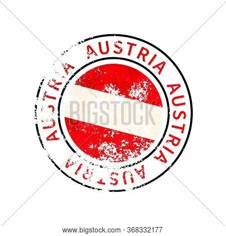 Austria Sign, Vintage Grunge Imprint With Flag On White