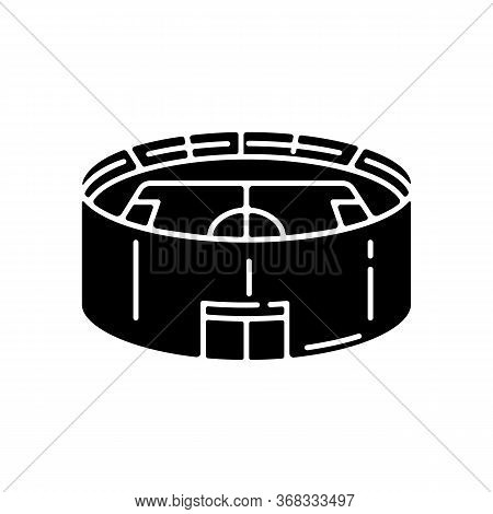Stadium Black Glyph Icon. Sporting Arena For Baseball Championship. Competition Match. Basketball Le