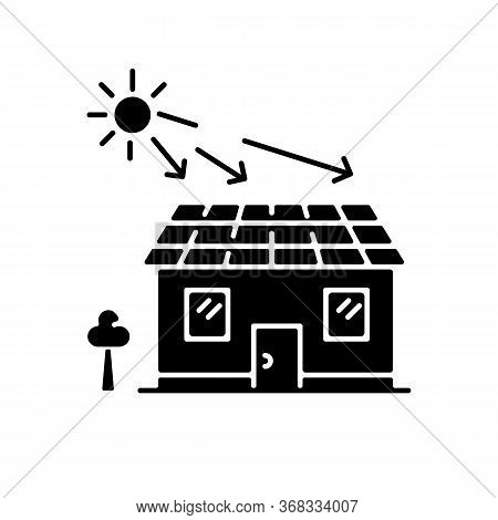 Solar Batteries Black Glyph Icon. Ecological Power Generation For Home. Electricity Supply. Install