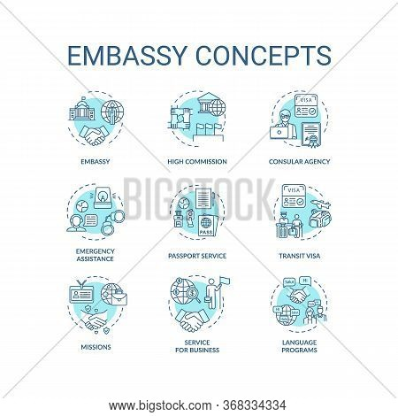 Embassy Concept Icons Set. International Relations Idea Thin Line Rgb Color Illustrations. Transit V
