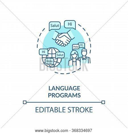 Language Programs Concept Icon. Native Speaker Lesson. Multilingual Society. Linguistics University