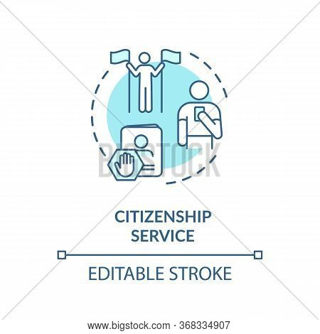 Citizenship Service Concept Icon. Foreign Country Legal Migration. Country Resident Document Applica