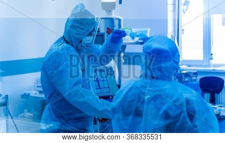 Intensive Care Emergency Room With Artificial Lung Ventilation Monitor In The Intensive Care Unit. V