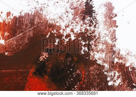 Brown And Red Hand Painted Acrylic Background. Grunge Acrylic Texture With Painted Dots And Brush St