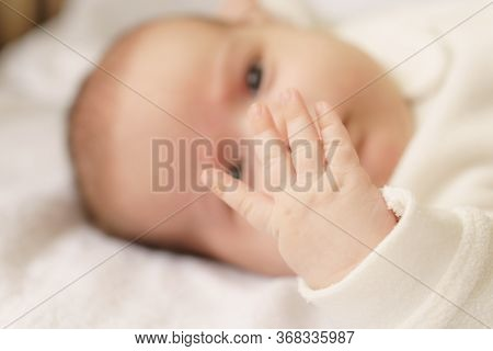 Little Hands Of Newborn.newborn Baby In A White Bodysuit Lying On The Bed. Top View Of A Newborn Bab