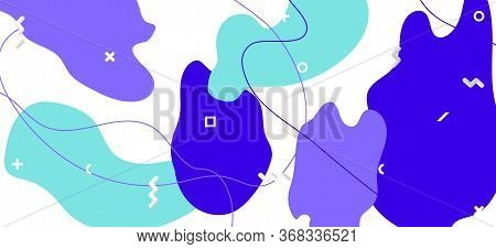 Purple Memphis Page. Hipster Abstract Illustration. Futuristic Fluid Template. Colorful Flow Pattern