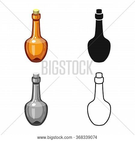 Vector Design Of Rum And Bottle Icon. Graphic Of Rum And Glass Stock Vector Illustration.