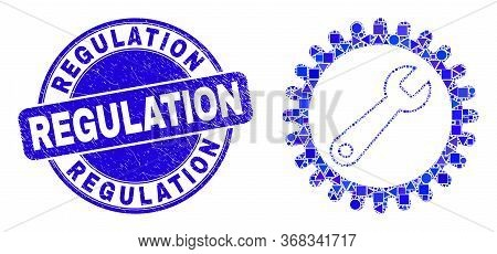Geometric Repair Wrench Mosaic Icon And Regulation Seal Stamp. Blue Vector Rounded Distress Stamp Wi