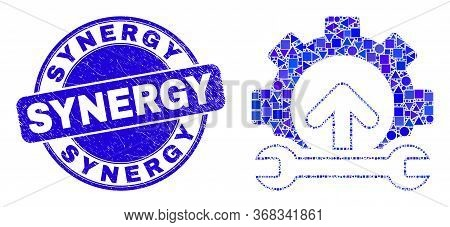 Geometric Gear Integration Arrow Mosaic Icon And Synergy Seal Stamp. Blue Vector Round Textured Seal