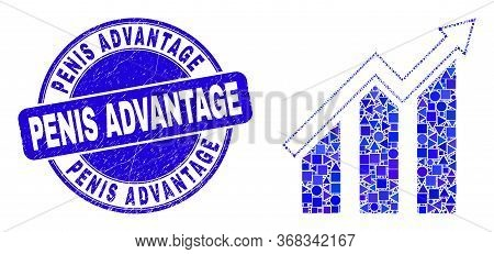 Geometric Growing Trend Chart Mosaic Pictogram And Penis Advantage Seal Stamp. Blue Vector Round Dis