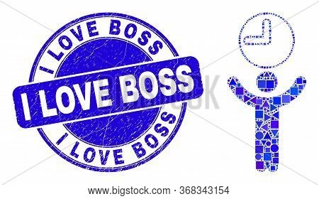 Geometric Time Manager Mosaic Pictogram And I Love Boss Stamp. Blue Vector Round Distress Stamp With