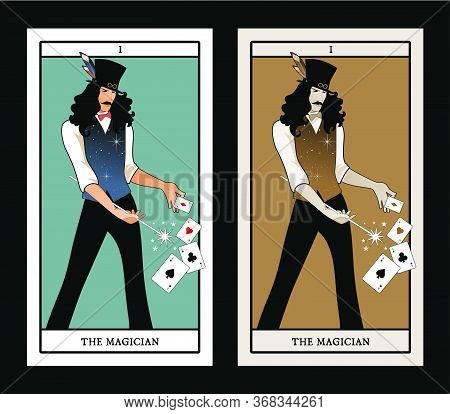 Major Arcana Tarot Cards. The Magician With Mustache And Top Hat, Holding A Magic Wand Doing Magic W