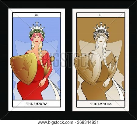 Major Arcana Tarot Cards. The Empress. Beautiful Woman With Long Braids, Sitting On A Throne, Holdin